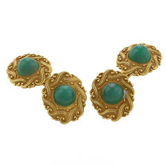 Art Nouveau Green Chrysophrase and Gold Cufflinks