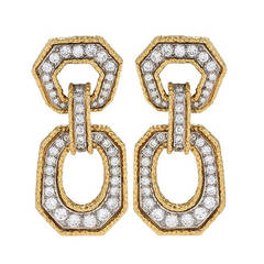 Van Cleef & Arpels Mid-20th Century Diamond Gold Door Knocker Earrings