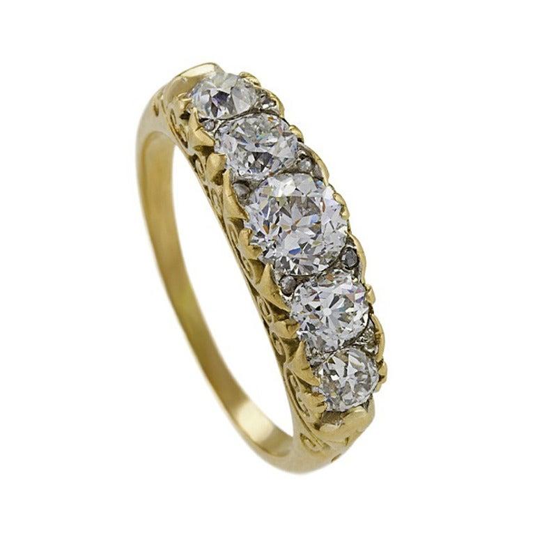 64c5039dcd8b0 Antique English Diamond Gold Five Stone Ring