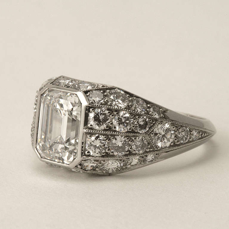 cert emerald cut platinum cocktail ring at 1stdibs