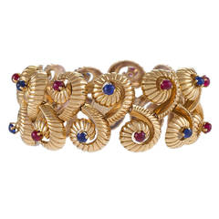 French Mid 20th Century Ruby Sapphire Gold Bracelet