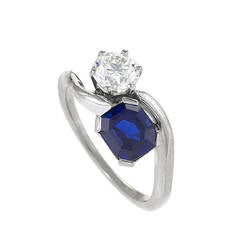 "1960s Blue Sapphire Diamond and Platinum ""Moi et Toi"" Ring"