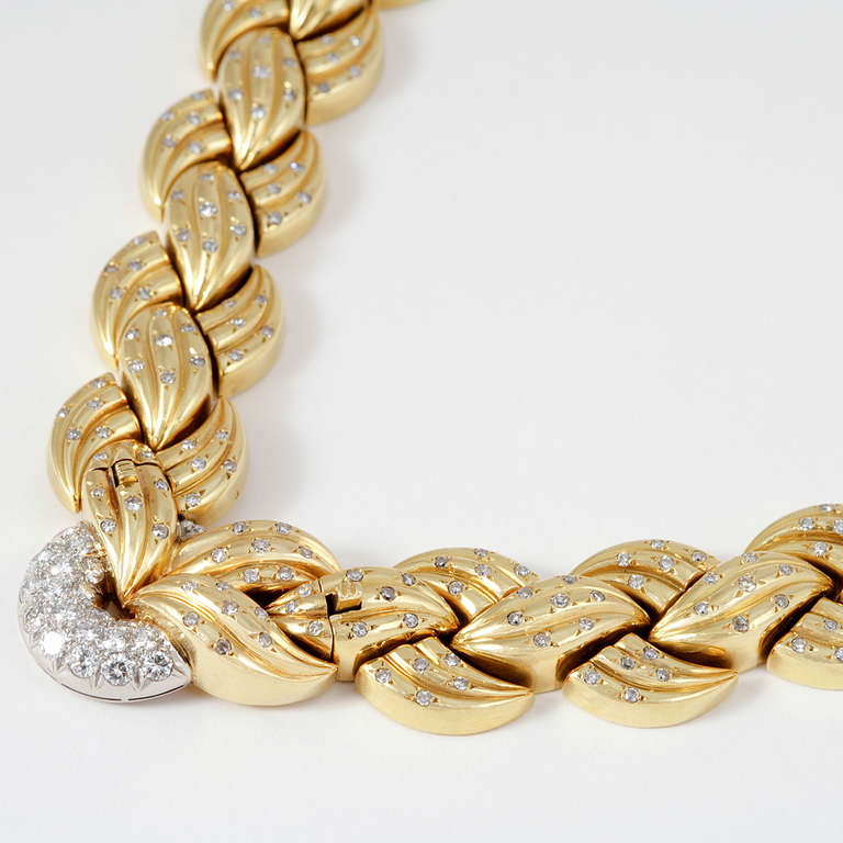 Van Cleef & Arpels 1940's Diamond Gold Necklace and Bracelets 2