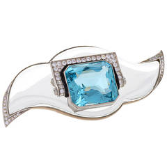 Mauboussin Art Deco Aquamarine Rock Crystal Diamond Platinum Brooch