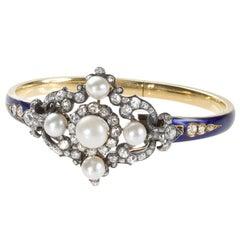 Hunt & Roskell London Antique Enamel Natural Pearl Diamond Gold Bracelet/Brooch