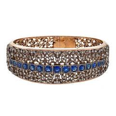 French Antique Napoleon III Sapphire Diamond Silver Gold Bracelet