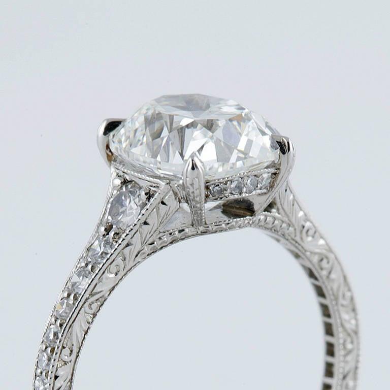 Oval Cushion Cut 3 02 Carat GIA Cert Diamond Platinum Engagement Ring For Sal