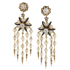Antique Enamel Pearl Diamond Gold Earrings