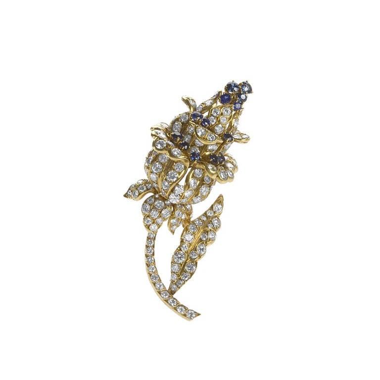 Lacloche Paris 1950s Sapphire Diamond and Gold Flower Brooch