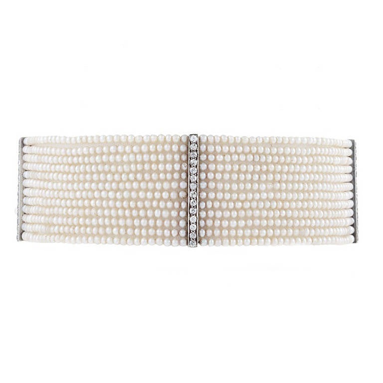 Edwardian Seed Pearl and Diamond Choker For Sale
