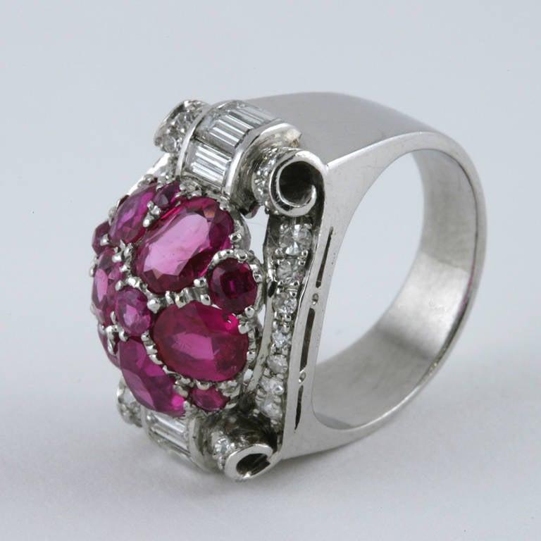 retro ruby and platinum ring at 1stdibs