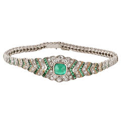 1920's Art Deco Diamond Emerald and Platinum Bracelet