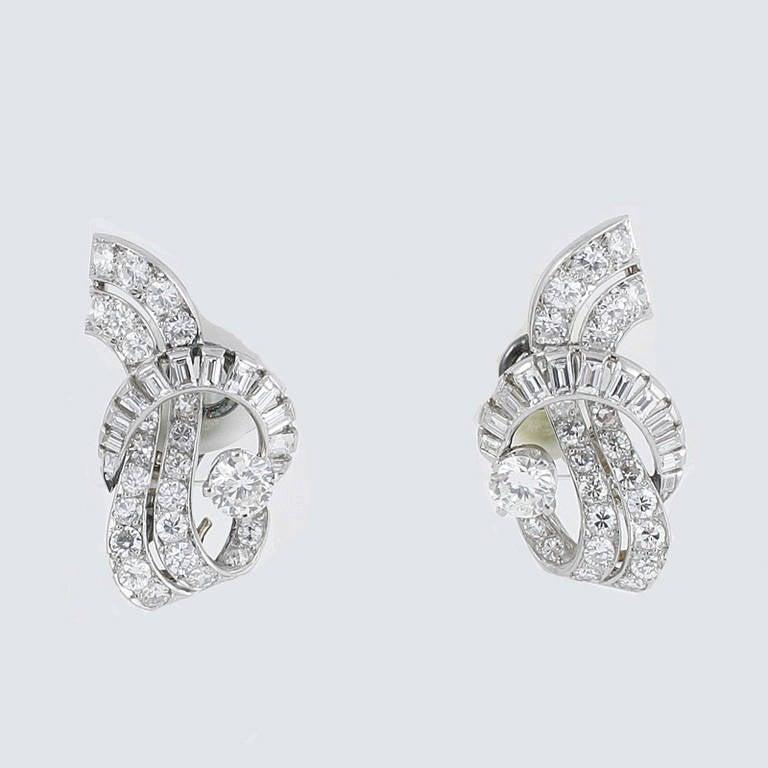 French Art Deco Waterfall Diamond Platinum Earrings 6