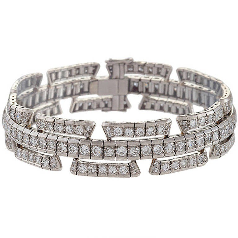 1930's Art Deco Diamond and Platinum Bracelet