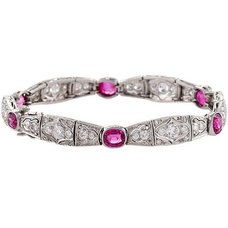 1920s Art Deco Ruby Diamond Platinum Bracelet