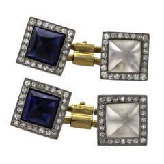 French Art Deco Crystal Sapphire Diamond Gold Platinum Cuff Links