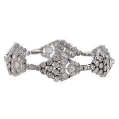 1920's Art Deco Diamond and Platinum Link Bracelet