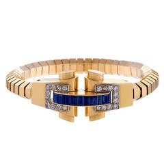 Boucheron French Retro Sapphire Diamond Gold Bracelet