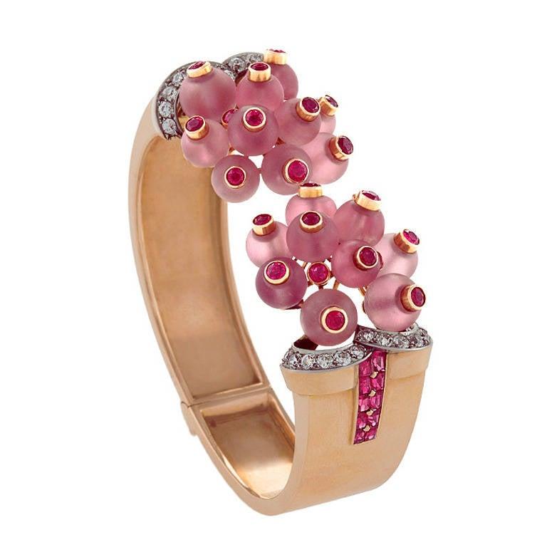 George Verger French 1930s Retro Rose Quartz Ruby Diamond Gold Platinum Bracelet