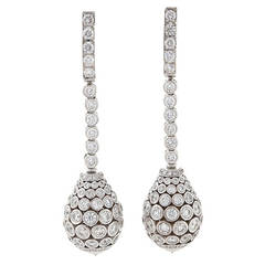 Cartier Diamond Platinum Drop Pendant Earrings