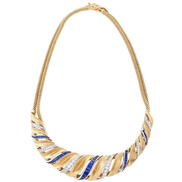 French Retro Sapphire Diamond Gold and Platinum Necklace