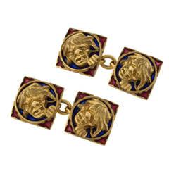 Boucheron Antique Plique a Jour Enamel and Gold Cuff Links