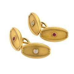 Tiffany & Co. Art Nouveau Diamond Ruby Gold Cuff Links