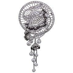 1920s Art Deco Onyx Diamond Platinum Brooch