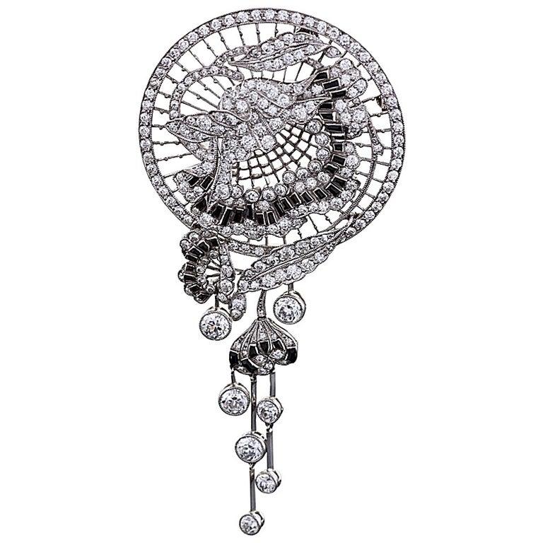 1920s Art Deco Onyx Diamond Platinum Brooch For Sale