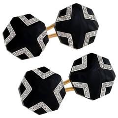 French Art Deco Onyx Diamond Gold Cuff Links