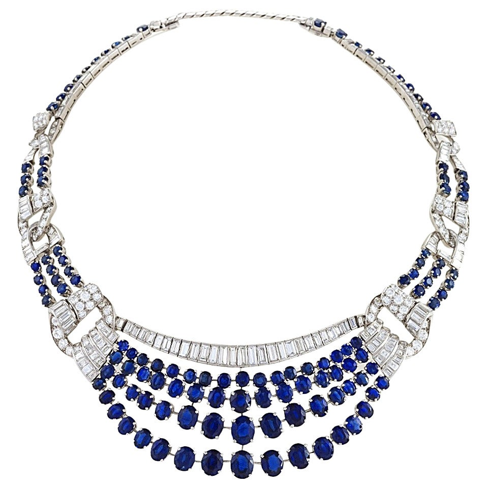 French 1950's Sapphire Diamond and Platinum Necklace