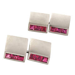 1930s Art Deco Ruby and Platinum Cufflinks