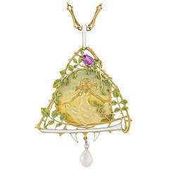 Lucien Gautrait French Art Nouveau Pearl Sapphire Diamond Pendant