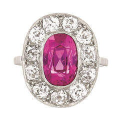 Belle Epoque Pink Sapphire Diamond and Platinum Cluster Ring