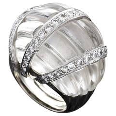 David Webb 1970's  Rock Crystal Diamond Platinum Bombé Ring