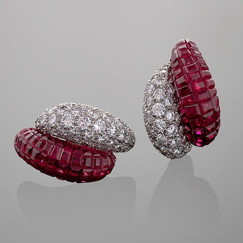 Van Cleef & Arpels Late-20th Century Ruby Diamond Platinum 'Mystère' Earrings 4