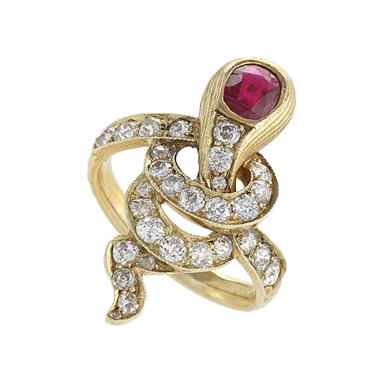 antique russian ruby gold serpent ring for sale at