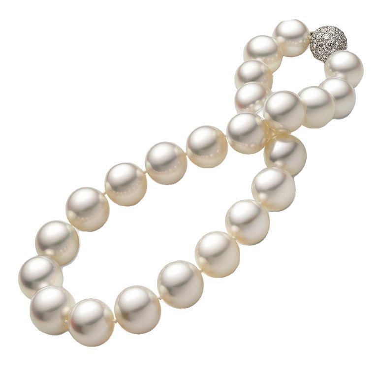 South Sea Cultured Pearl Necklace and Diamond Platinum Clasp