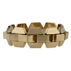 European Retro Pink Gold Tank Track Bracelet