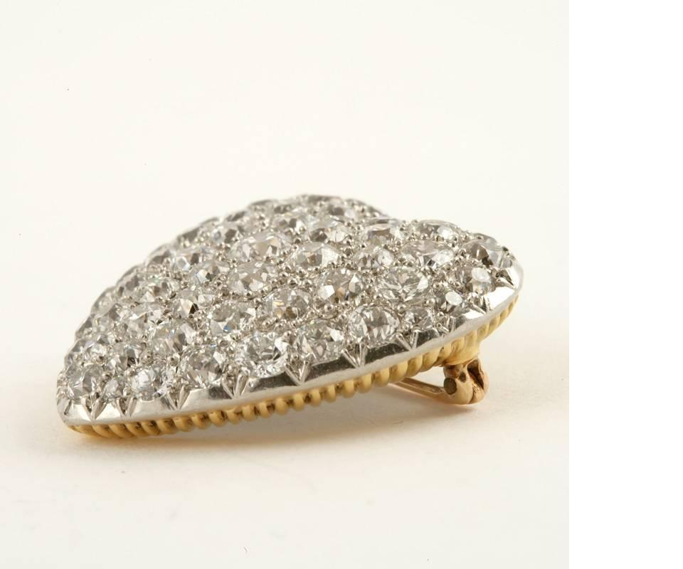 Antique diamond gold and silver pendant heart brooch for for The triumph of love jewelry 1530 1930