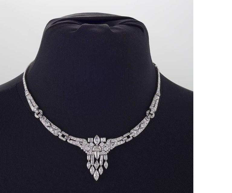 1920's Art Deco Diamond and Platinum Necklace 2