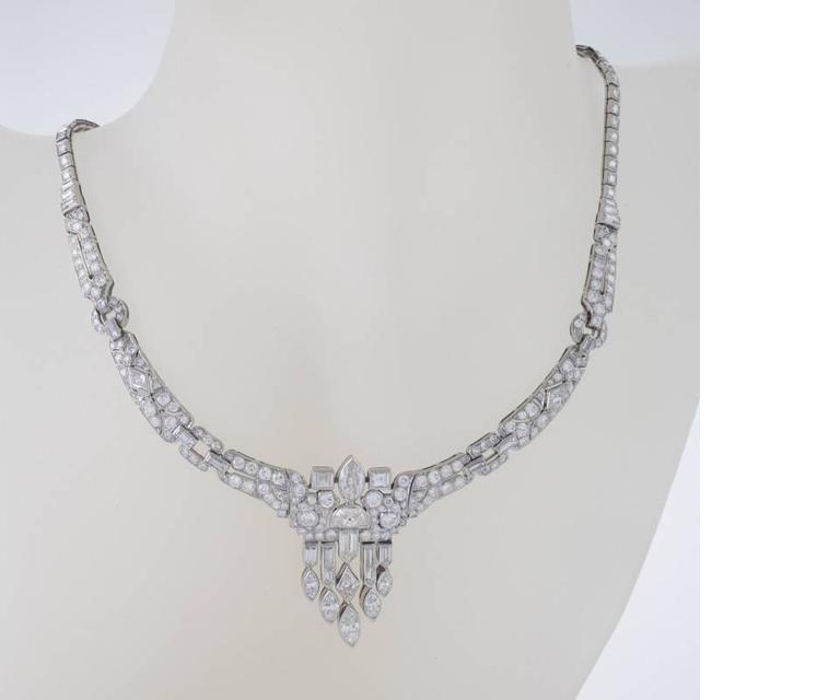 1920's Art Deco Diamond and Platinum Necklace 3