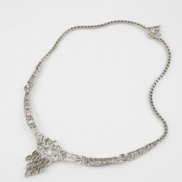 1920's Art Deco Diamond and Platinum Necklace 4