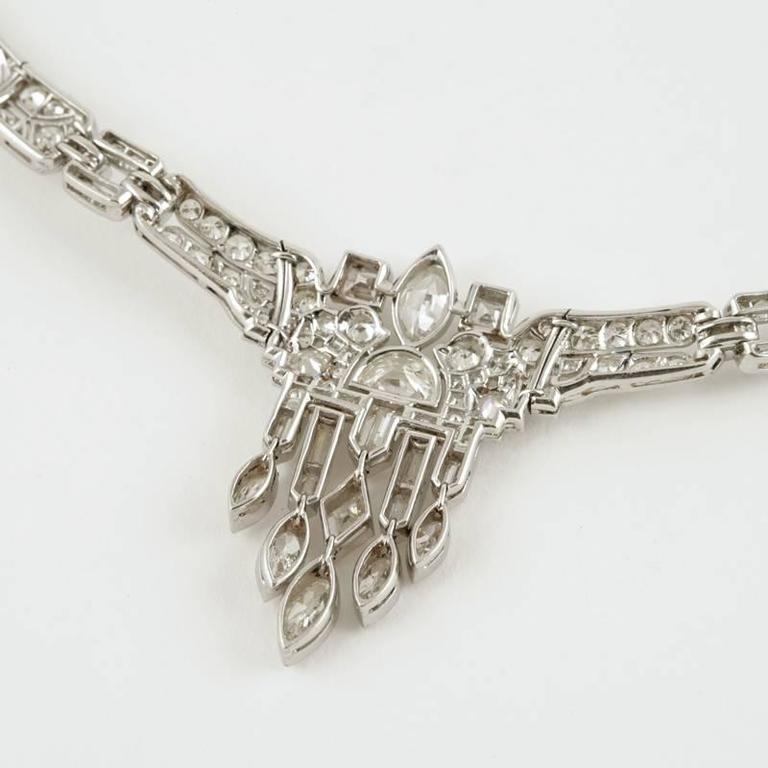 1920's Art Deco Diamond and Platinum Necklace 7