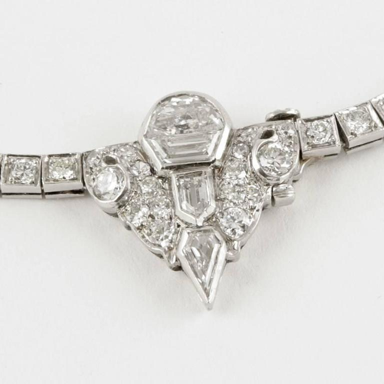 1920's Art Deco Diamond and Platinum Necklace 6