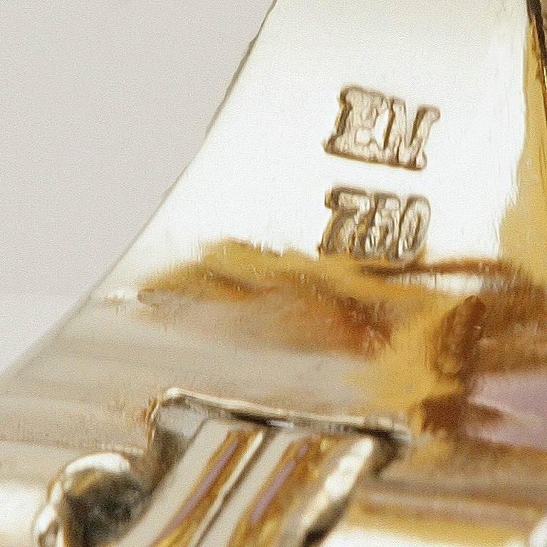 Meister Swiss 1980's Sapphire Diamond Gold Earrings For Sale 2