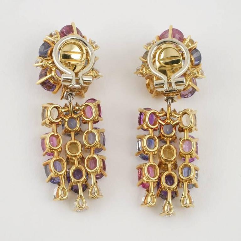 Women's Meister Swiss 1980's Sapphire Diamond Gold Earrings For Sale