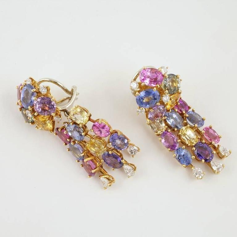 Meister Swiss 1980's Sapphire Diamond Gold Earrings For Sale 1