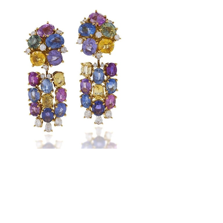 Meister Swiss 1980's Sapphire Diamond Gold Earrings In Excellent Condition For Sale In New York, NY