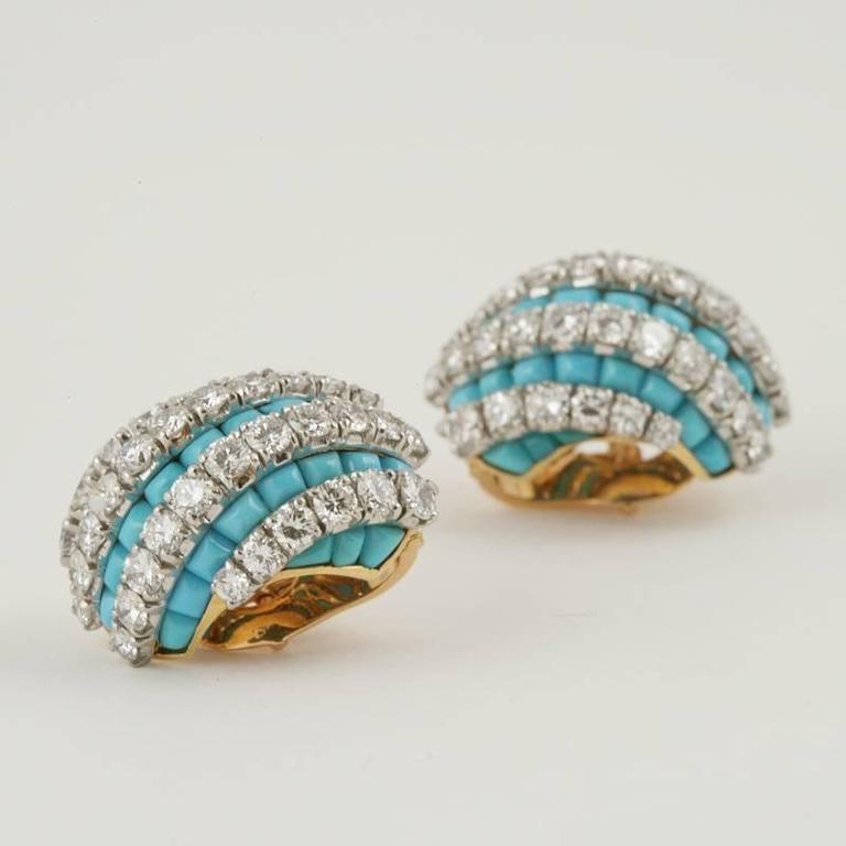 Van Cleef & Arpels Mid-20th Century Turquoise Diamond Gold Platinum Earrings 4